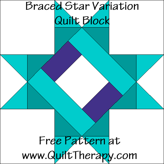 Braced Star Variation Quilt Block Free Pattern at QuiltTherapy.com!