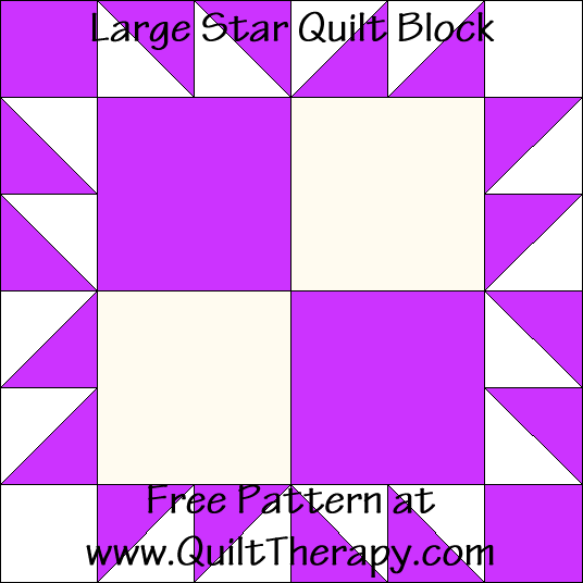 Large Star Quilt Block Free Pattern at QuiltTherapy.com!