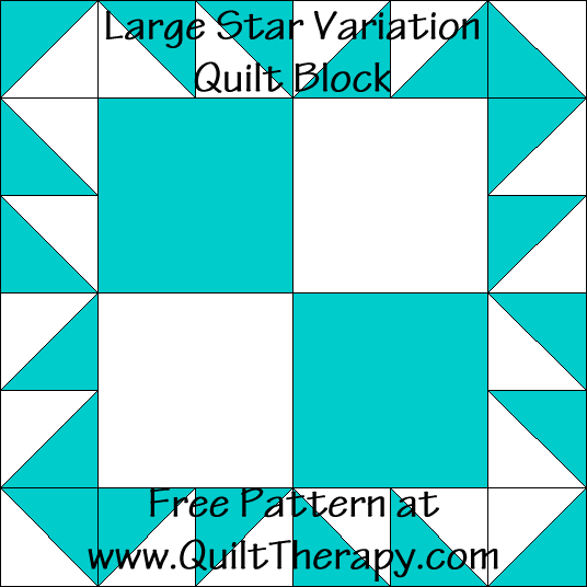 Large Star Variation Quilt Block Free Pattern at QuiltTherapy.com!
