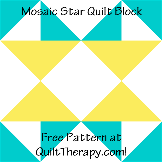 "Mosaic Star Quilt Block Free Pattern for a 12"" quilt block at QuiltTherapy.com!"