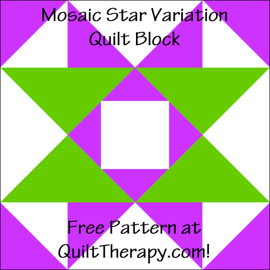 "Mosaic Star Variation Quilt Block Free Pattern for a 12"" quilt block at QuiltTherapy.com!"