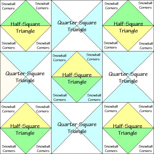 Ornate Star Variation Quilt Block Diagram