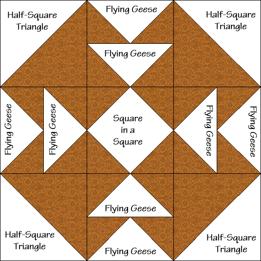 Tea for Four Quilt Block Diagram