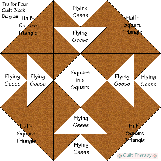 """Tea for Four Quilt Block Diagram Free Pattern for 12"""" finished quilt block at QuiltTherapy.com!"""