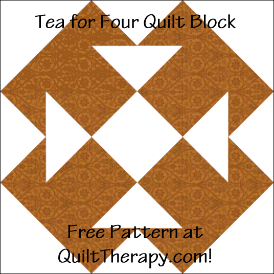 """Tea for Four Quilt Block Free Pattern for a 12"""" quilt block at QuiltTherapy.com!"""