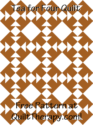 """Tea for Four Quilt Free Pattern for a 36"""" x 48"""" quilt at QuiltTherapy.com!"""