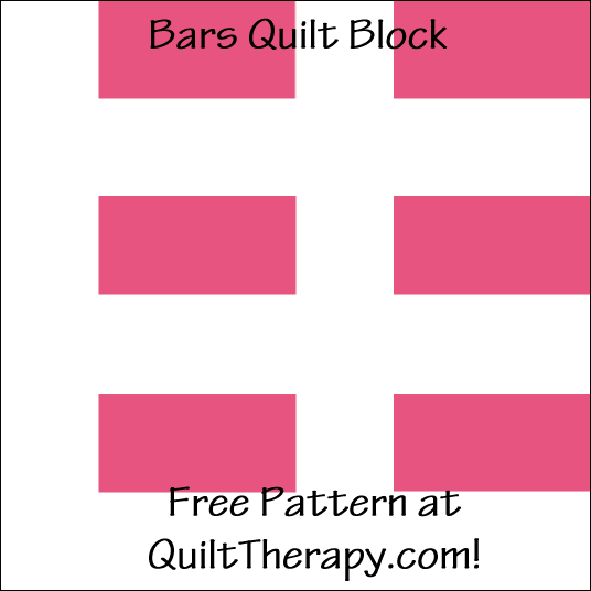 "Bars Quilt Block Free Pattern for a 12"" quilt block at QuiltTherapy.com!"
