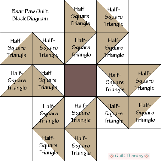 """Bear Paw Quilt Block Diagram Free Pattern for 12"""" finished quilt block at QuiltTherapy.com!"""