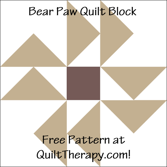 """Bear Paw Quilt Block Free Pattern for a 12"""" quilt block at QuiltTherapy.com!"""