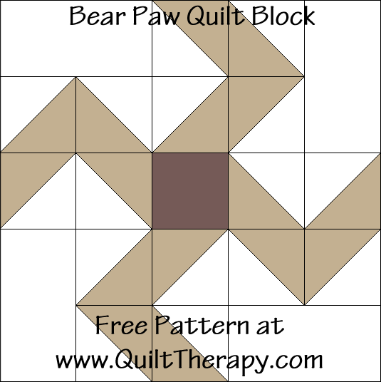 Bear Paw Quilt Block Free Pattern at QuiltTherapy.com!