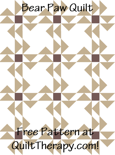 """Bear Paw Quilt Free Pattern for a 36"""" x 48"""" quilt at QuiltTherapy.com!"""