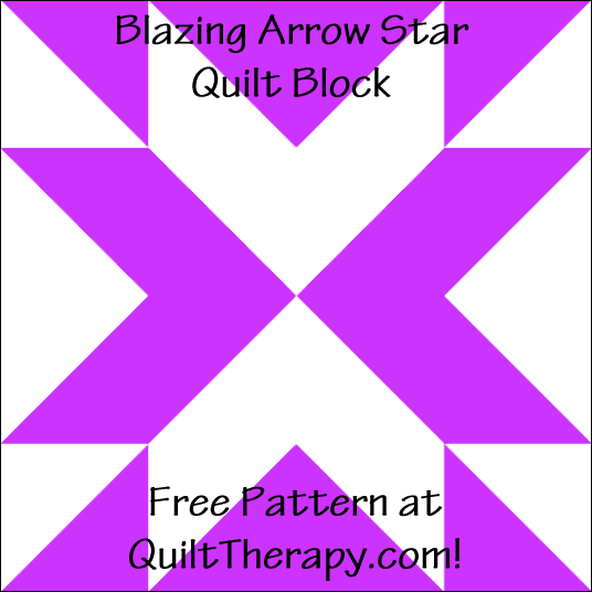 "Blazing Arrow Star Quilt Block Free Pattern for a 12"" quilt block at QuiltTherapy.com!"
