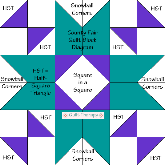 "County Fair Quilt Block Diagram Free Pattern for 12"" finished quilt block at QuiltTherapy.com!"