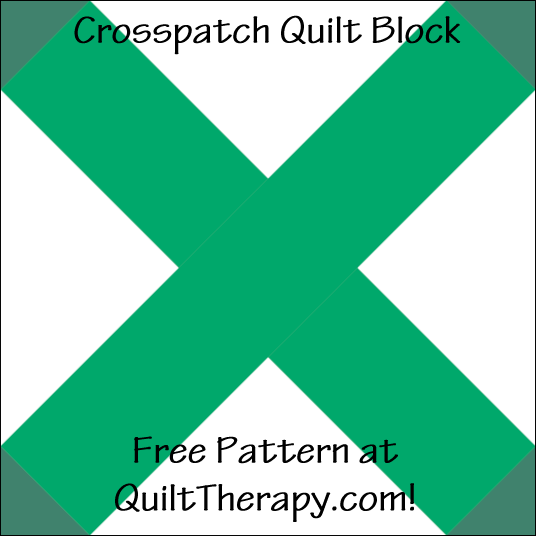 """Crosspatch Quilt Block Free Pattern for a 12"""" quilt block at QuiltTherapy.com!"""