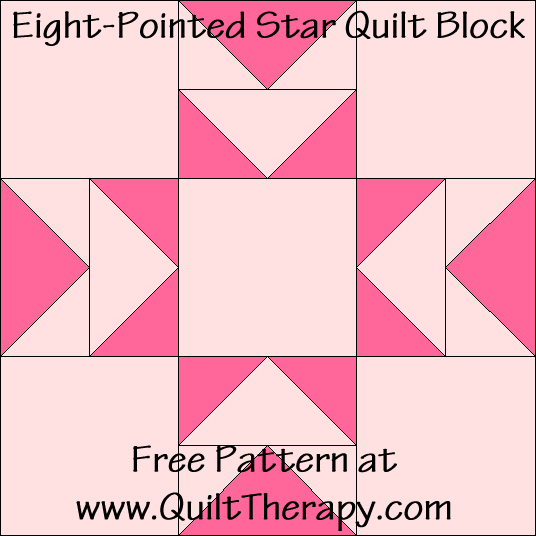 Eight-Pointed Star Quilt Block Free Pattern at QuiltTherapy.com!