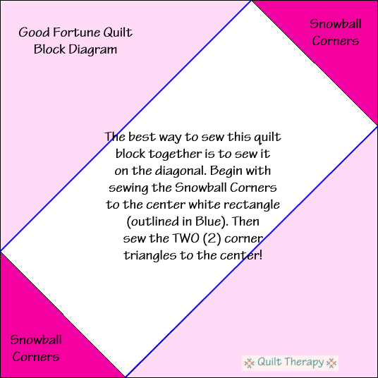"""Good Fortune Quilt Block Diagram Free Pattern for 12"""" finished quilt block at QuiltTherapy.com!"""