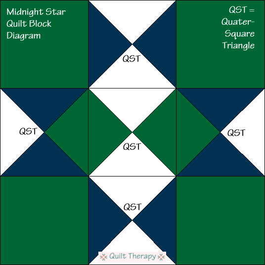 "Midnight Star Quilt Block Diagram Free Pattern for 12"" finished quilt block at QuiltTherapy.com!"