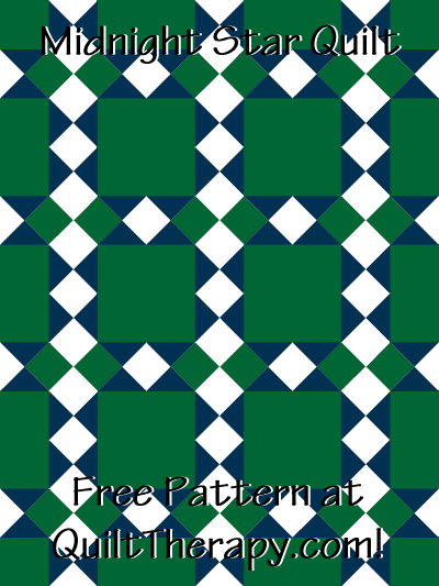 "Midnight Star Quilt Free Pattern for a 36"" x 48"" quilt at QuiltTherapy.com!"