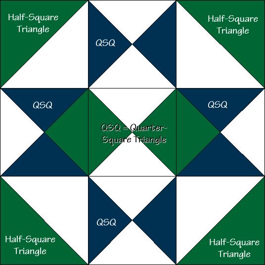 Midnight Star Variation Quilt Block Diagram Free Pattern at QuiltTherapy.com!