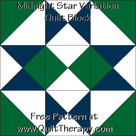 Midnight Star Variation Quilt Block Free Pattern at QuiltTherapy.com!
