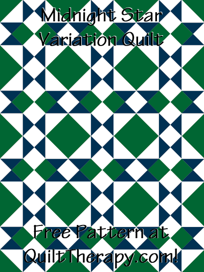 "Midnight Star Variation Quilt Free Pattern for a 36"" x 48"" quilt at QuiltTherapy.com!"