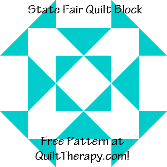 "State Fair Quilt Block Free Pattern for a 12"" quilt block at QuiltTherapy.com!"
