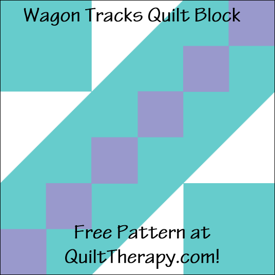 "Wagon Tracks Quilt Block Free Pattern for a 12"" quilt block at QuiltTherapy.com!"
