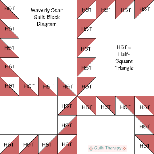 "Waverly Star Quilt Block Diagram Free Pattern for 12"" finished quilt block at QuiltTherapy.com!"