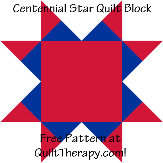 "Centennial Star Quilt Block Free Pattern for a 12"" quilt block at QuiltTherapy.com!"