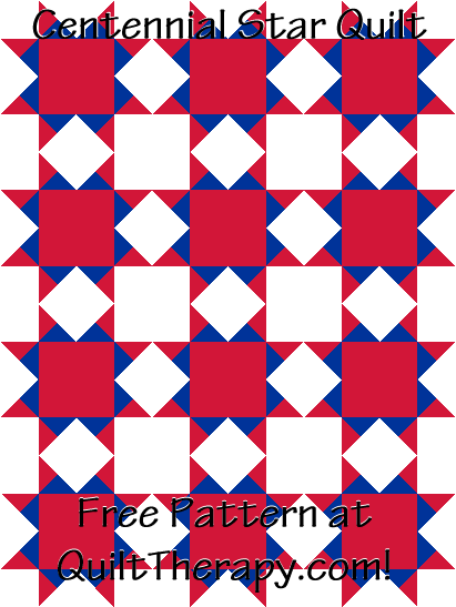 "Centennial Star Quilt Free Pattern for a 36"" x 48"" quilt at QuiltTherapy.com!"