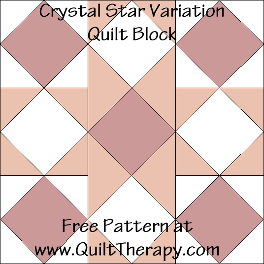 Crystal Star Variation Quilt Block Free Pattern at QuiltTherapy.com!