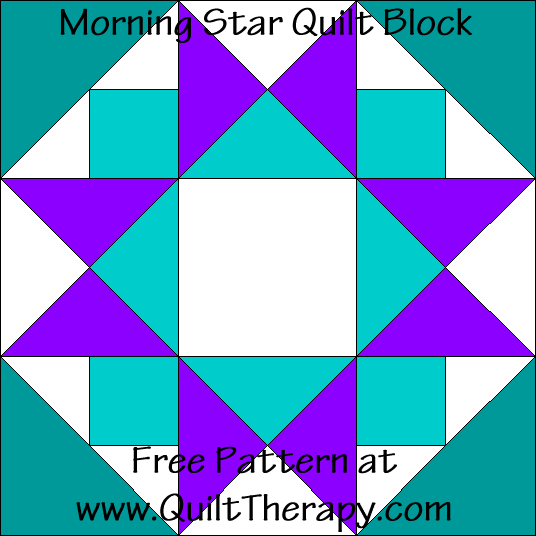 Morning Star Quilt Block Free Pattern at QuiltTherapy.com!