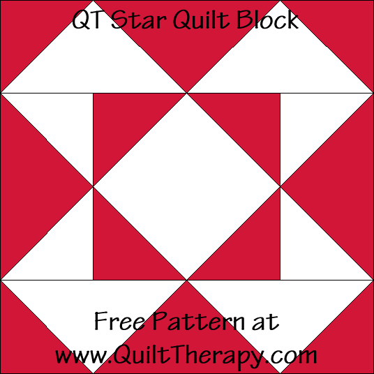 QT Star Quilt Block Free Pattern at QuiltTherapy.com!