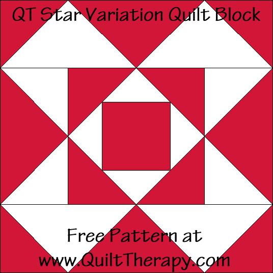 QT Star Variation Quilt Block Free Pattern at QuiltTherapy.com!