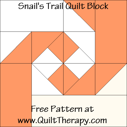 Snail's Tail Quilt Block Free Pattern at QuiltTherapy.com!