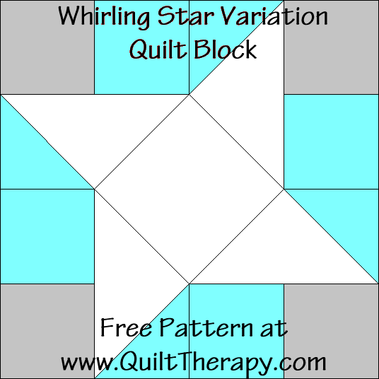 Whirling Star Variation Quilt Block Free Pattern at QuiltTherapy.com!
