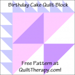 """Birthday Cake Quilt Block Free Pattern for a 12"""" quilt block at QuiltTherapy.com!"""