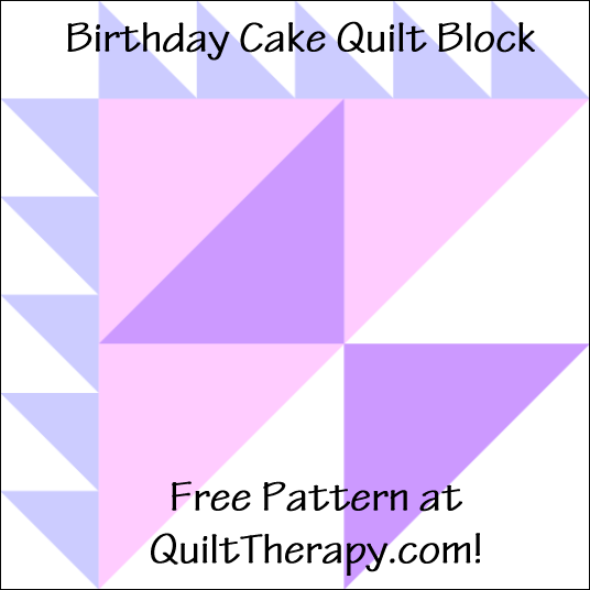 "Birthday Cake Quilt Block Free Pattern for a 12"" quilt block at QuiltTherapy.com!"