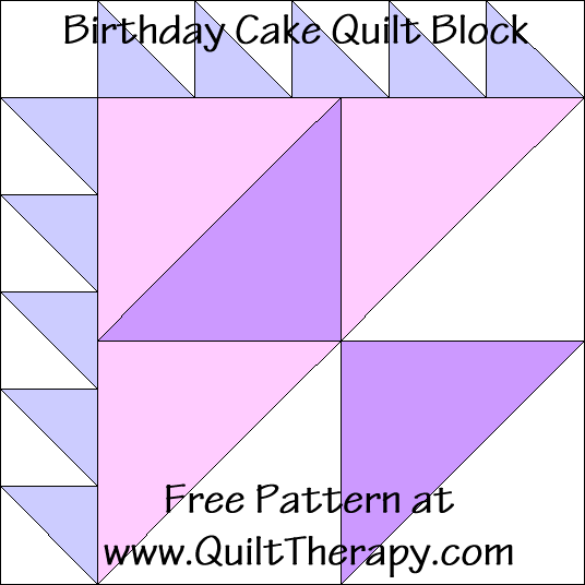 Birthday Cake Quilt Block Free Pattern at QuiltTherapy.com!