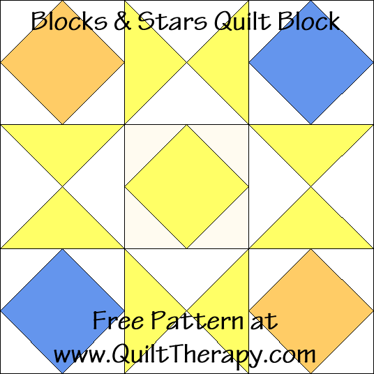 Blocks & Stars Quilt Block Free Pattern at QuiltTherapy.com!