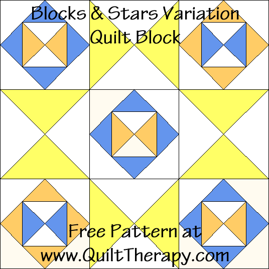 Blocks & Stars Variation Quilt Block Free Pattern at QuiltTherapy.com!