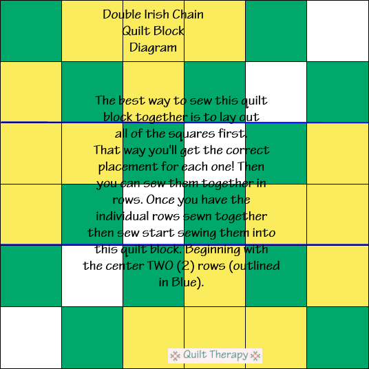 "Double Irish Chain Quilt Block Diagram Free Pattern for 12"" finished quilt block at QuiltTherapy.com!"