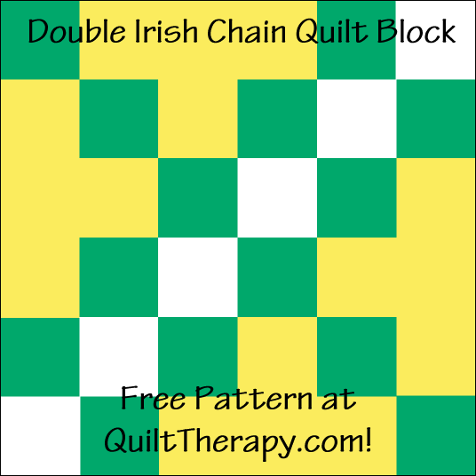 "Double Irish Chain Quilt Block with Three Trees Free Pattern for a 12"" quilt block at QuiltTherapy.com!"