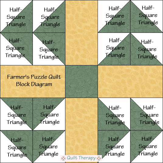 "Farmer's Puzzle Quilt Block Diagram Free Pattern for 12"" finished quilt block at QuiltTherapy.com!"