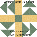 """Farmer's Puzzle Quilt Block Free Pattern for a 12"""" quilt block at QuiltTherapy.com!"""