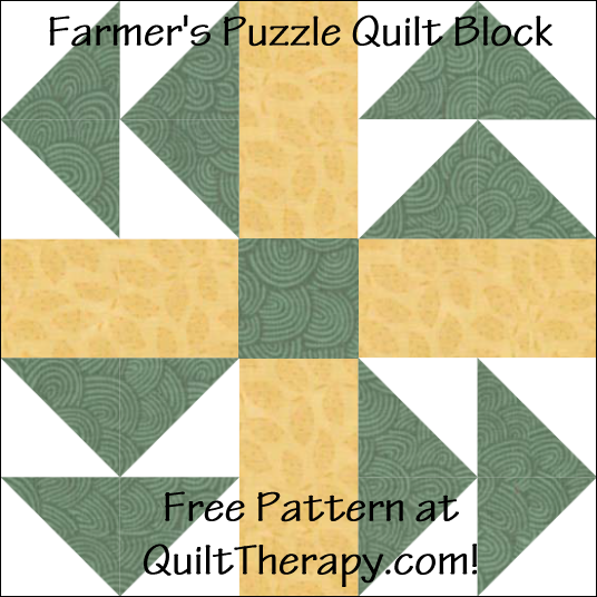 "Farmer's Puzzle Quilt Block Free Pattern for a 12"" quilt block at QuiltTherapy.com!"