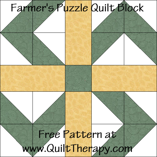 Farmer's Puzzle Quilt Block Free Pattern at QuiltTherapy.com!