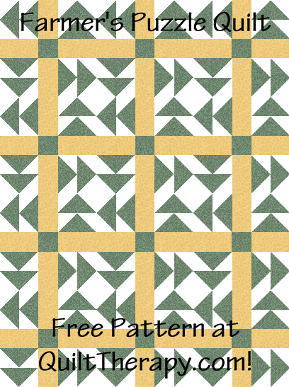 "Farmer's Puzzle Quilt Free Pattern for a 36"" x 48"" quilt at QuiltTherapy.com!"