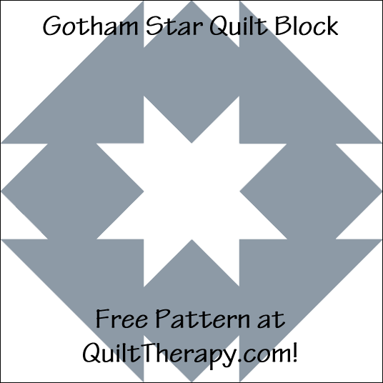 "Gotham Star Quilt Block Free Pattern for a 12"" quilt block at QuiltTherapy.com!"