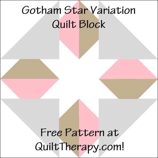 "Gotham Star Variation Quilt Block Free Pattern for a 12"" quilt block at QuiltTherapy.com!"